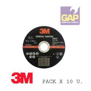 Disco De Corte 3M- 115 m X 1,2 mm Pack X 10 U.